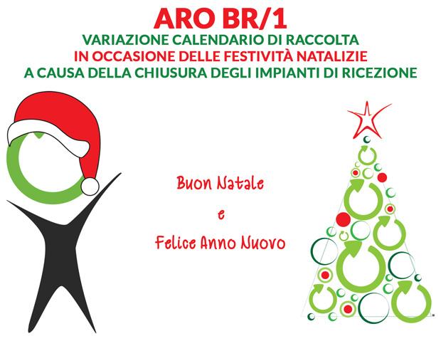 ARO BR/1. Variazioni al calendario di Raccolta a causa della chiusura degli impianti in occasione delle festività natalizie