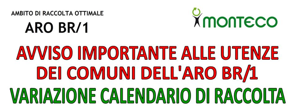 ARO BR1. Variazione del calendario di raccolta in occasione della festività del 15 agosto