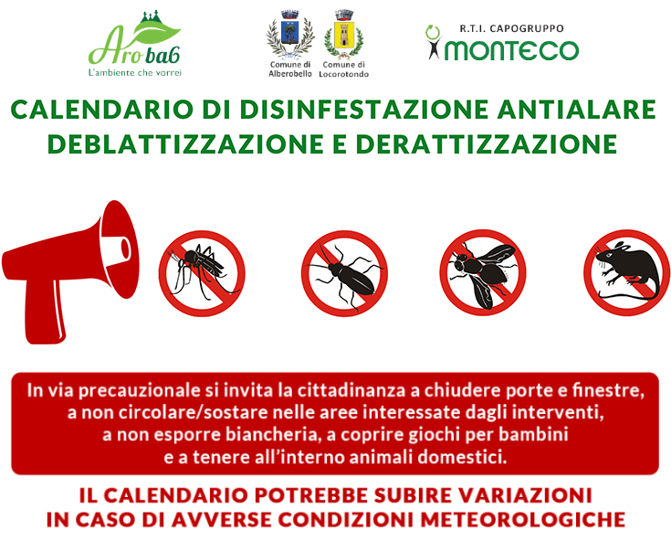 ARO BA6. Calendari di disinfestazione antialare, deblattizzazione e derattizzazione