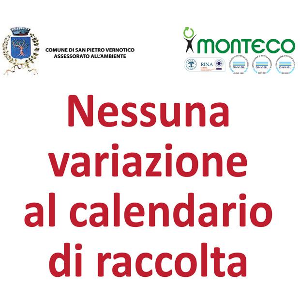SAN PIETRO VERNOTICO. 1° NOVEMBRE 2019 NESSUNA VARIAZIONE AL SERVIZIO