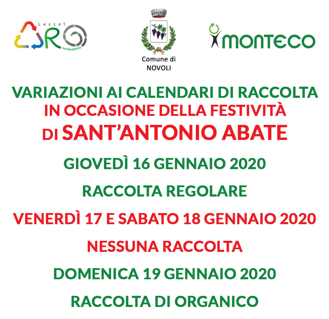 Festività Sant'Antonio Abate del 16-17-18 gennaio 2020 – variazione calendario raccolta -